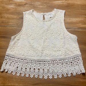 Forever 21 Boho Lace Crop Top sz M